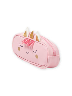 Pink pencil case with unicorn design for girls MYACLATROUS / 21WI01G1TRO321