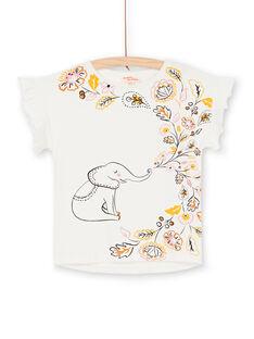Elephant and leaf print short sleeve t-shirt with ruffled sleeves LAPOETI2 / 21S901Y2TMC001