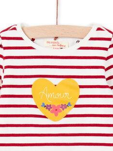 Baby girl's white and red reversible T-shirt MIMIXTEE / 21WG09J1TML001