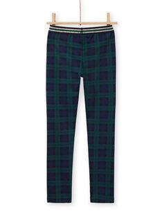 Blue and green milano pants with tartan print child girl MAJOMIL3 / 21W90113PANC243