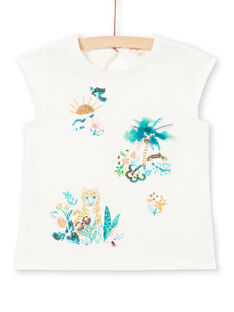 Baby Girl Short Sleeve T-Shirt, Landscape and Tiger Animation LAVERTI1 / 21S901Q3TMC001