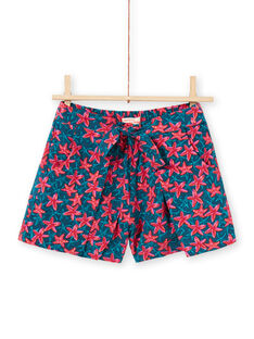 Girl's blue duck and red starfish shorts LABONSHORT2 / 21S901W3SHO716