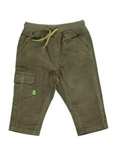 Baby boys' khaki velour trousers DUJOPAN2 / 18WG1032PAN609