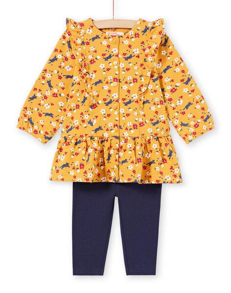Baby Girl Mustard Yellow Floral Print Dress & Navy Blue Leggings MIMIXENS / 21WG09J1ENSB106