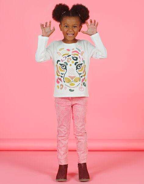 Girl's yellow and ecru T-shirt MAKATEE3 / 21W901I2TML001