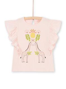 Pink T-shirt with short ruffled sleeves LAJAUTI1 / 21S901O1TMC307