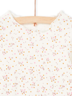 Girl's long-sleeved ribbed T-shirt in ecru with floral design MAJOUTEE4 / 21W90128TML001