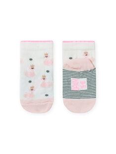 Baby girl's ecru and pink swan print socks MYIKASOQ / 21WI09I1SOQ001