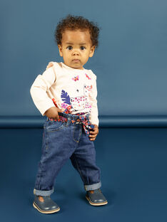 Baby girl's floral print jeans and belt MIPAPAN / 21WG09H2PANP274