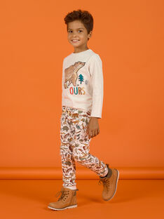 Child boy's mottled beige animal print jogging suit MOSAUJOG / 21W902P1JGBA013