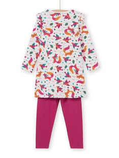 Children's nightgown fox print girl with fuchsia leggings LEFACHUBIC / 21SH1151CHN001