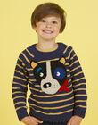 Boy's long sleeve striped sweater with dog head motif MOMIXPUL / 21W902J1PUL717