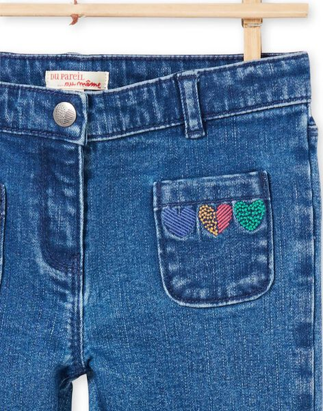 Girl's blue jeans with hearts MAMIXJEAN / 21W901J1JEAP269