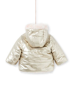 Baby girl reversible hooded jacket in gold and pink MIORDOUREV / 21WG0951D3EA006