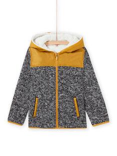 Child boy's black technical hooded zipped jacket MOJOTEKGIL2 / 21W902N1GIL090