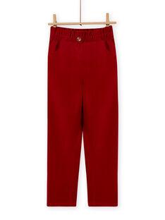 Baby girl red corduroy paperbag pants MAFUNPANT2 / 21W901M1PANF504