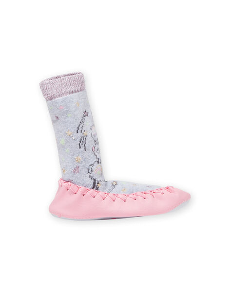 Baby girl grey mottled high slippers with llama pattern MICHO7LAMA / 21XK3721D08943