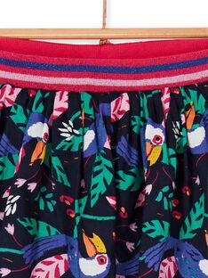 Reversible navy blue and green toucan print skirt LANAUJUP2 / 21S901P2JUPC205