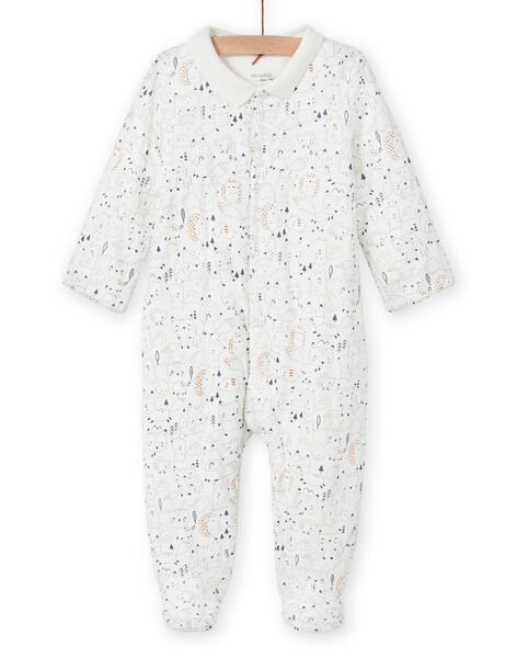 Mixed birth romper in ecru with fantaise print collar MOU1GRE3 / 21WF0441GRE001