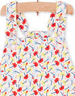Red and blue dungarees with floral print baby girl LICANSAL / 21SG09M1SAL001