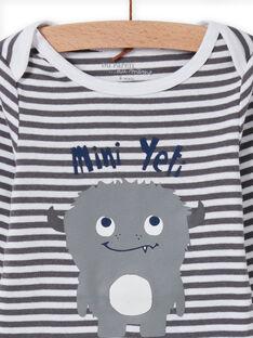 Baby boy's long sleeve striped bodysuit with yeti print MEGABODYET / 21WH14C4BDLJ918