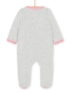 Grey and pink velvet baby girl sleep suit LEFIGRECHOU / 21SH1358GREJ920