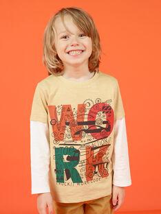 Boy's long-sleeved t-shirt beige and ecru with fantasy motifs MOCOTEE1 / 21W902L1TMLA006