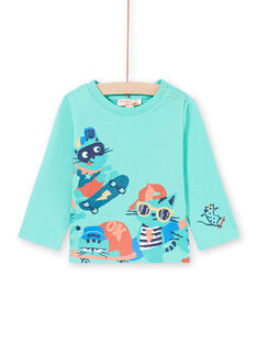 Turquoise t-shirt with skate cats design for baby boy MUTUTEE2 / 21WG10K1TML209