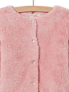 Girl's reversible light pink faux fur cardigan MAJOCARF3 / 21W90112CAR312
