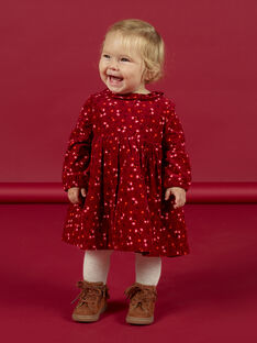 Baby girl's wine colored polka dot ruffle dress MIFUNROB3 / 21WG09M2ROB504