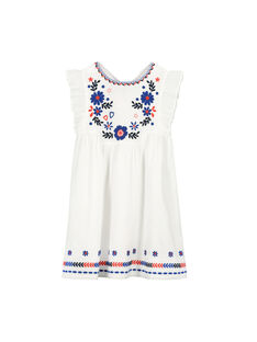 Girls' white embroidered dress FATOROB3 / 19S901L3ROB000