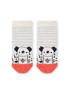 Baby boy's red and beige striped socks LYUPOECHOB2 / 21SI10Y2SOQA011