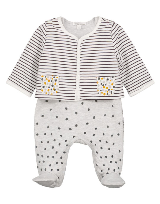 Unisex babies' dungaree and cardigan set GOU1ENS1 / 19WF0513ENS001