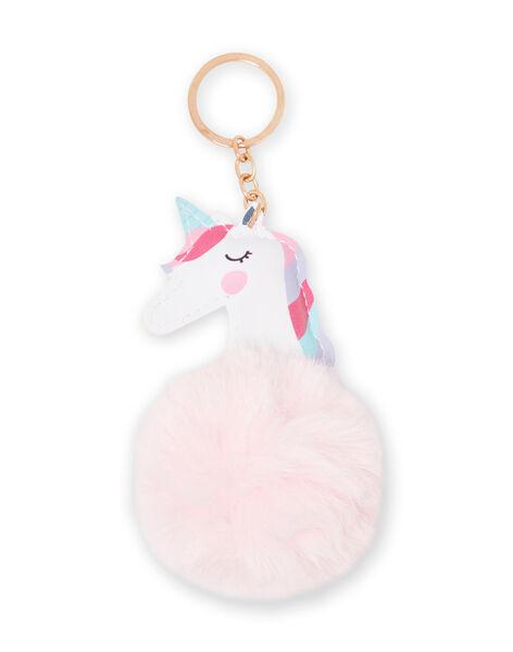 Girl's pink unicorn keychain with pompom MYACLACLES1 / 21WI01G2D5M321