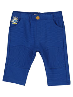 Baby boys' blue textured knit trousers GUBLEPAN / 19WG1091PAN702