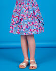 Lavender blue and pink skirt with floral print and Lurex® stripes in cotton LABLEJUP1 / 21S901J1JUPC208