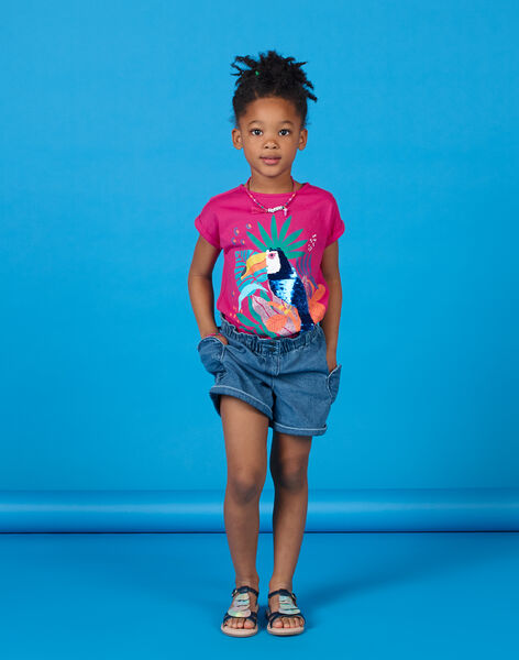 Pink and blue T-shirt with toucan pattern with sequins LANAUTI1 / 21S901P2TMCF507