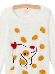 Faux fur sweater in ecru with child girl dog design MAMIXPULL / 21W901J1PUL001