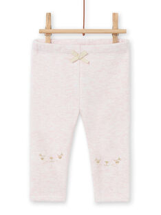Pink lined legging with embroidered rabbit motifs, baby girl MIJOPANDOU3 / 21WG0912PAND314