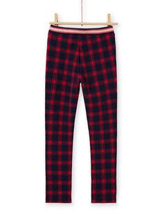 Girl's night blue and red milano pants with tartan print MAMIXPANT / 21W901J1PANC205