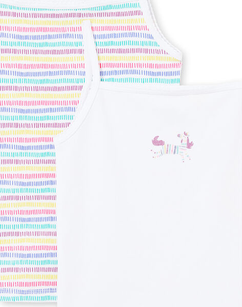 Set of 2 assorted white and multicolor tank tops for baby girl MEFADELIC / 21WH11B1HLI000