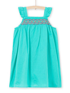Embroidered dress with green straps child girl JAMAROB3 / 20S901P3ROB629