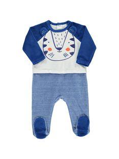 Baby boys' velour sleepsuit CEGUGRERAY / 18SH1445GRE001