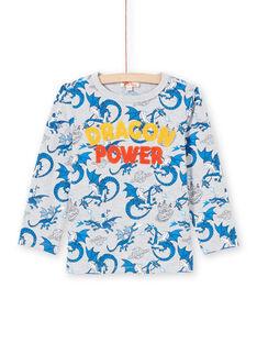 Boy's grey and blue dragon T-shirt MOPLATEE1 / 21W902O2TMLJ922