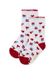 Red and ecru socks with heart print baby girl MYIMIXSOQB / 21WI09J1SOQ001