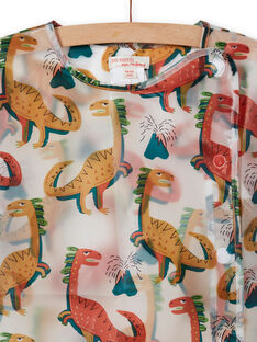 Boy's transparent dinosaur print school apron MYOCLATAB1 / 21WI02G1TAB961