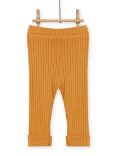Baby girl's plain mustard yellow ribbed legging MYIJOLEGCO5 / 21WI0912CALB106
