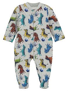 Baby boys' velour sleepsuit FEGAGRESAF / 19SH1496GRE099