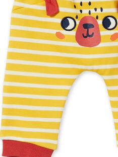 Yellow and white striped cotton pants baby boy LUNOPAN2 / 21SG10L2PAN106