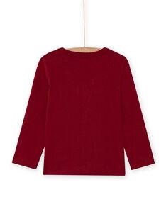Boy's red long sleeve t-shirt with dinosaur print MOFUNTEE3 / 21W902M2TML511